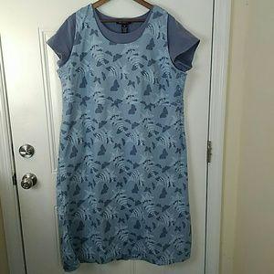 Denim & Co blue Print dress with matching t-shirt